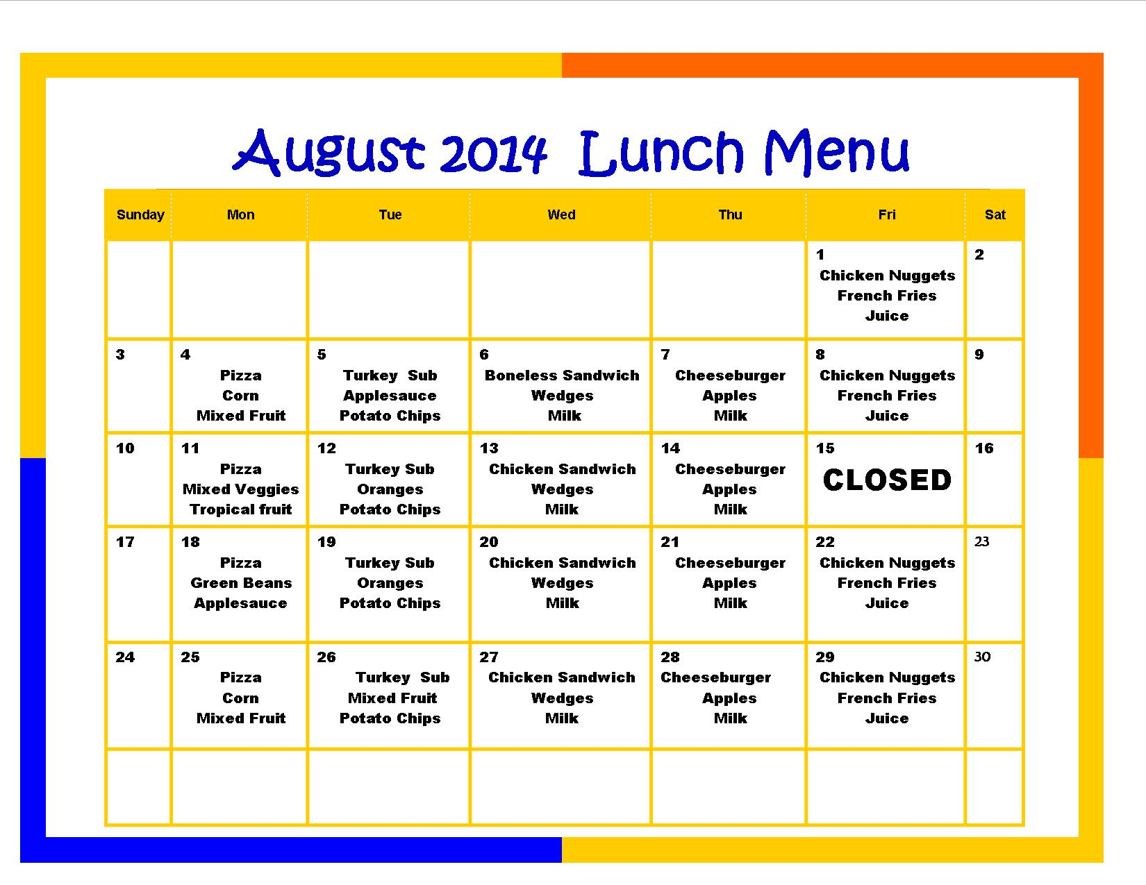 Download This Month's Lunch Menu Download This Month's Snack Menu